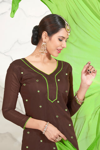 Designer Embroidered Straight Cut Suits:atisundar Lovely Brown Straight Cut Designer Wear - 14737