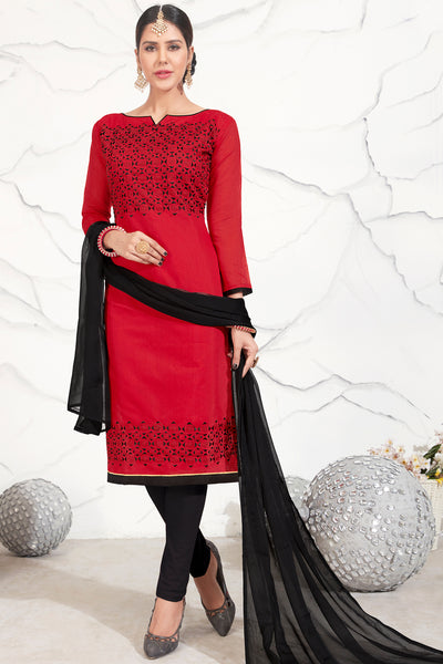 Designer Embroidered Straight Cut Suits:atisundar divine Red Straight Cut Designer Wear - 14739 - click to zoom