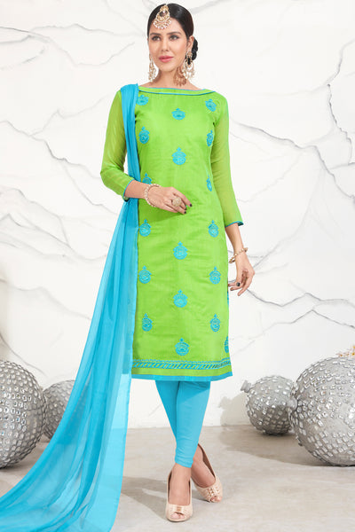 Designer Embroidered Straight Cut Suits:atisundar elegant Green Straight Cut Designer Wear - 14740 - click to zoom