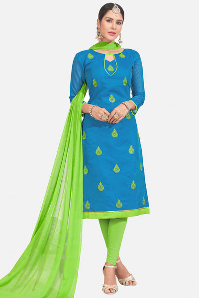 Designer Embroidered Straight Cut Suits:atisundar gorgeous Blue Straight Cut Designer Wear - 14742 - click to zoom