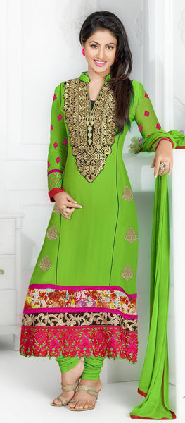 The Swanky Designer Embroidered Straight Cut by Heena Khan:atisundar dazzling Green Designer Straight Cut  - 6137 - atisundar - 2 - click to zoom