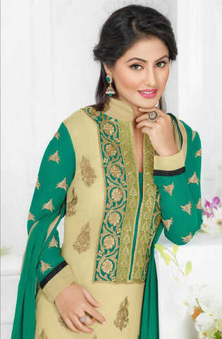 The Swanky Designer Embroidered Straight Cut by Heena Khan:atisundar cute Beige Designer Straight Cut  - 6138 - atisundar - 3