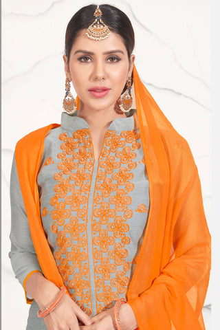 Designer Embroidered Straight Cut Suits:atisundar magnificent Grey Straight Cut Designer Wear - 14743