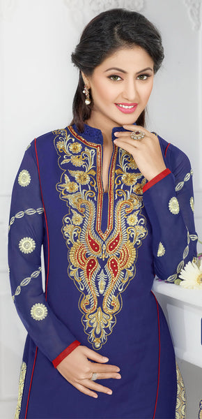 The Swanky Designer Embroidered Straight Cut by Heena Khan:atisundar magnificent Blue Designer Straight Cut  - 6141 - atisundar - 3 - click to zoom