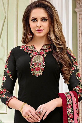 Designer Heavy Suit With Embroidered Bottom:atisundar delicate Black Designer Straight Cut Embroidered Suits - 15054