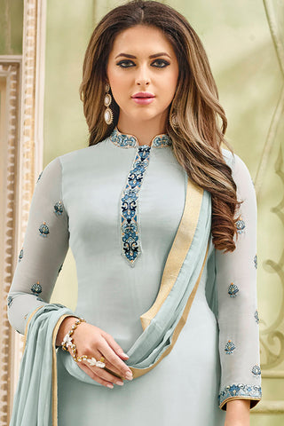 Designer Heavy Suit With Embroidered Bottom:atisundar cute Grey Designer Straight Cut Embroidered Suits - 15056