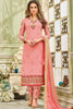 Designer Heavy Suit With Embroidered Bottom:atisundar delightful Pink Designer Straight Cut Embroidered Suits - 15057 - click to zoom