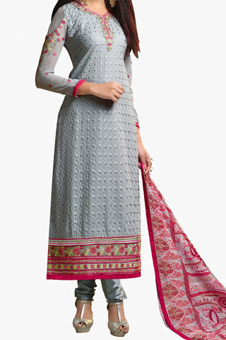 Designer Straight Cut:atisundar magnificent Grey And Pink Designer Embroidered Party Wear Straight Cut In Faux Georgette - 11919 - atisundar - 1 - click to zoom