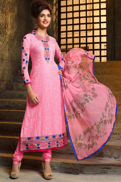 Designer Straight Cut:atisundar refined Light Pink Designer Embroidered Party Wear Straight Cut In Faux Georgette - 11920 - atisundar - 4 - click to zoom