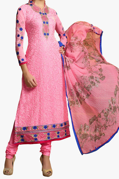 Designer Straight Cut:atisundar refined Light Pink Designer Embroidered Party Wear Straight Cut In Faux Georgette - 11920 - atisundar - 1 - click to zoom