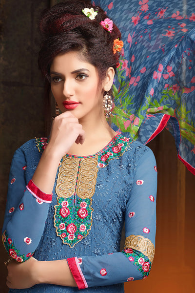 Designer Straight Cut:atisundar fair Blue Designer Embroidered Party Wear Straight Cut In Faux Georgette - 11921 - atisundar - 4 - click to zoom
