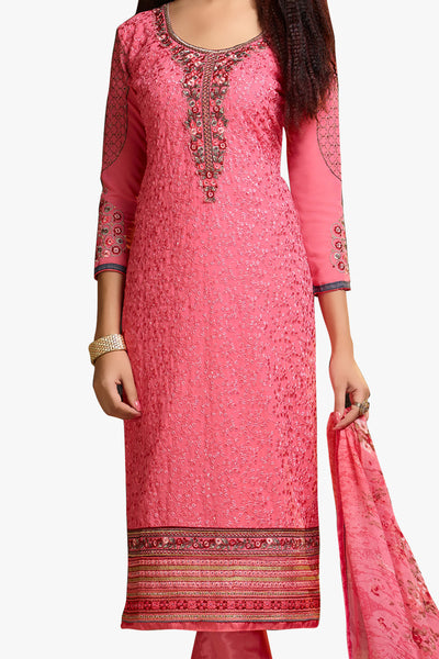 Designer Straight Cut:atisundar comely Pink Designer Embroidered Party Wear Straight Cut In Faux Georgette - 11922 - click to zoom