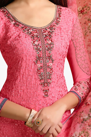 Designer Straight Cut:atisundar comely Pink Designer Embroidered Party Wear Straight Cut In Faux Georgette - 11922 - atisundar - 3 - click to zoom