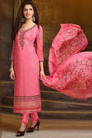 Designer Straight Cut:atisundar comely Pink Designer Embroidered Party Wear Straight Cut In Faux Georgette - 11922 - atisundar - 4 - click to zoom