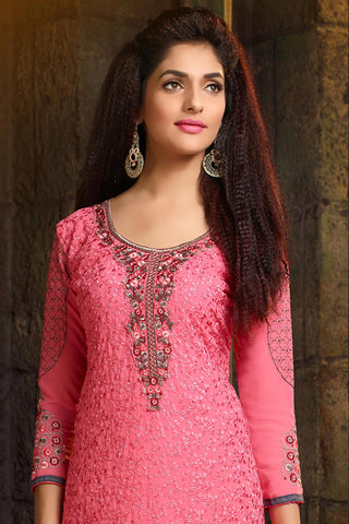 Designer Straight Cut:atisundar comely Pink Designer Embroidered Party Wear Straight Cut In Faux Georgette - 11922 - atisundar - 6 - click to zoom