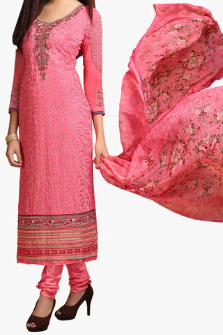 Designer Straight Cut:atisundar comely Pink Designer Embroidered Party Wear Straight Cut In Faux Georgette - 11922 - atisundar - 1 - click to zoom