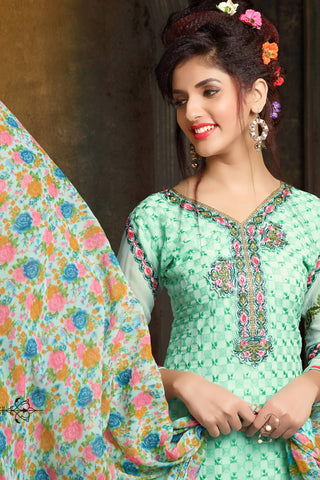 Designer Straight Cut:atisundar Charismatic Light Sea Green Designer Embroidered Party Wear Straight Cut In Faux Georgette - 11923 - atisundar - 4