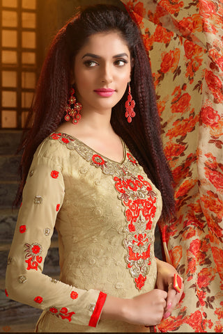 Designer Straight Cut:atisundar splendid Beige Designer Embroidered Party Wear Straight Cut In Faux Georgette - 11925 - atisundar - 4