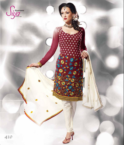 Siya Chandrabhaga: Great Unstitched Salwar Kameez In Maroon - 4110 - atisundar - 3 - click to zoom