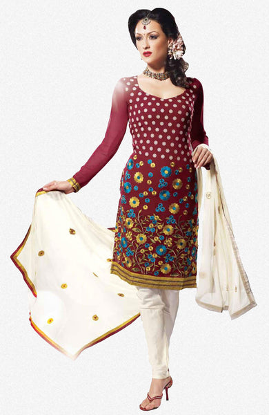 Siya Chandrabhaga: Great Unstitched Salwar Kameez In Maroon - 4110 - atisundar - 1 - click to zoom
