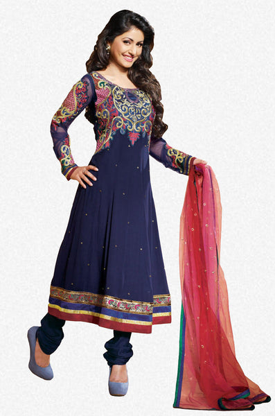 Ravishing Embroidered Anarkali Blue Unstitched Salwar Kameez By Siya - 4122 - atisundar - 1 - click to zoom