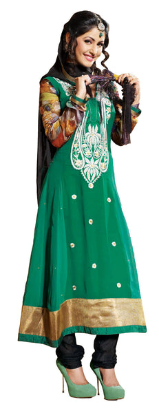 Classy Embroidered Anarkali Green Unstitched Salwar Kameez By Siya - 4124 - click to zoom