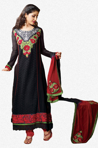 Pretty Embroidered Anarkali Black Unstitched Salwar Kameez By Siya - 4127 - atisundar - 1 - click to zoom