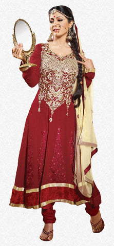 Cute Embroidered Anarkali Red Unstitched Salwar Kameez By Siya - 4128 - atisundar - 1 - click to zoom