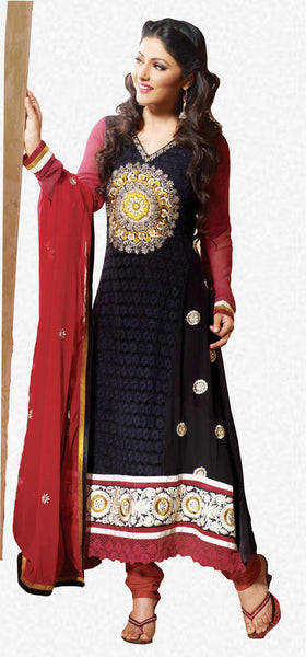 Siya Kamalini: Enticing Unstitched Salwar Kameez In Black - 4130 - atisundar - 1 - click to zoom