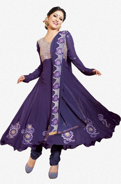 Siya Shilavati: Magnificent Unstitched Salwar Kameez In Purple - 4134 - atisundar - 1 - click to zoom