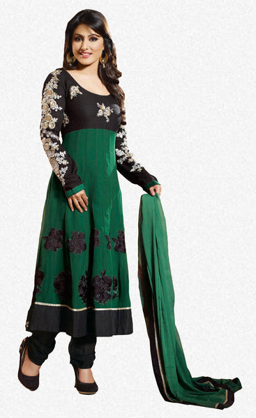 Resplendent Embroidered Anarkali Green Unstitched Salwar Kameez By Siya - 4139 - atisundar - 1 - click to zoom
