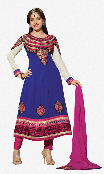 Resplendent Embroidered Anarkali Blue Unstitched Salwar Kameez By atisundar - 4142 - atisundar - 1 - click to zoom