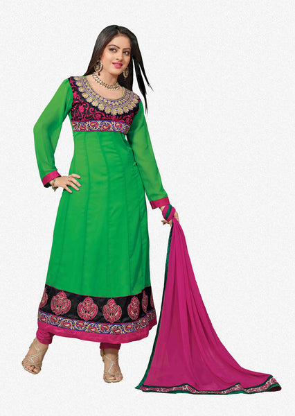 Pretty Embroidered Anarkali Green Unstitched Salwar Kameez By atisundar - 4143 - atisundar - 1 - click to zoom