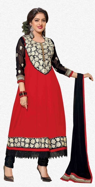 Bewitching Embroidered Anarkali Red Unstitched Salwar Kameez By atisundar - 4150 - atisundar - 1 - click to zoom
