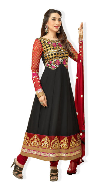 The Karishma Kapoor Collection:Resplendent Designer Bollywood Semi stitched Anarkali in Black  - 4170 - atisundar - 2 - click to zoom