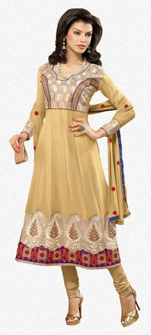 Zareena: Appealing Semi stitched Salwar Kameez In Beige - 4190 - atisundar - 1 - click to zoom