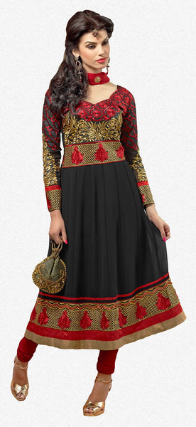 Zareena: Magnificent Semi stitched Salwar Kameez In Black and Red - 4191 - atisundar - 1 - click to zoom