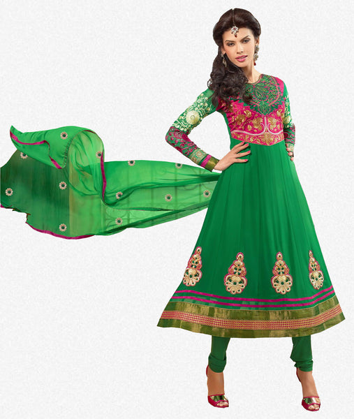 Zareena:Resplendent Embroidered Anarkali Green semi stitched Salwar Kameez By atisundar - 4194 - atisundar - 1 - click to zoom