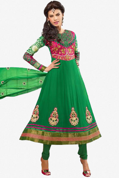 Zareena:Resplendent Embroidered Anarkali Green semi stitched Salwar Kameez By atisundar - 4194 - click to zoom
