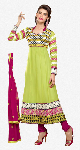 Zareena:Delicate Semi Stitched Salwar Kameez In Green - 4199 - atisundar - 1 - click to zoom