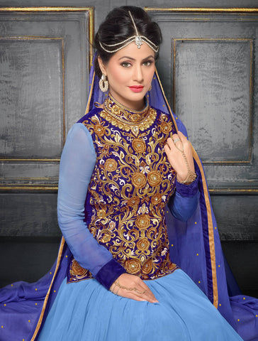 Embroidered Party Wear Anarkali in Net and Faux georgette:atisundar bewitching Sky Blue embroidered Party Wear Anarkali - 6146 - atisundar - 4
