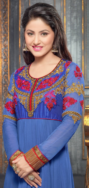 Embroidered Party Wear Anarkali in Net and Faux georgette:atisundar ravishing Blue embroidered Party Wear Anarkali - 6148 - atisundar - 4 - click to zoom
