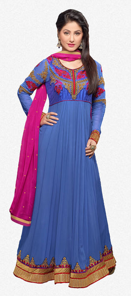 Embroidered Party Wear Anarkali in Net and Faux georgette:atisundar ravishing Blue embroidered Party Wear Anarkali - 6148 - atisundar - 2 - click to zoom