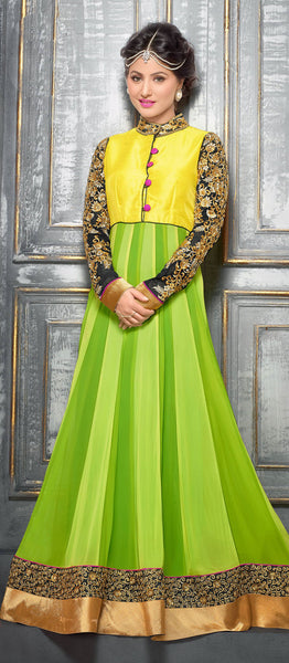 Embroidered Party Wear Anarkali in Net and Faux georgette:atisundar Attractive Green embroidered Party Wear Anarkali - 6149 - atisundar - 4 - click to zoom