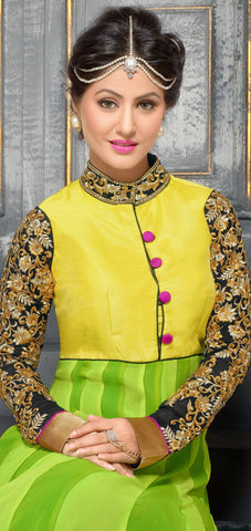Embroidered Party Wear Anarkali in Net and Faux georgette:atisundar Attractive Green embroidered Party Wear Anarkali - 6149 - atisundar - 5
