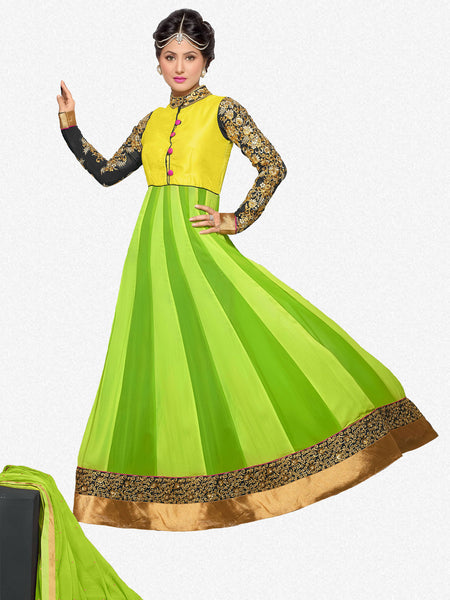 Embroidered Party Wear Anarkali in Net and Faux georgette:atisundar Attractive Green embroidered Party Wear Anarkali - 6149 - atisundar - 2 - click to zoom