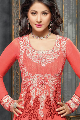 Designer Anarkali:atisundar delicate Orange Designer Embroidered Anarkali - 10683 - atisundar - 2