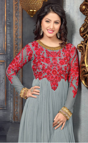 Embroidered Party Wear Anarkali in Net and Faux georgette:atisundar admirable Grey embroidered Party Wear Anarkali - 6153 - atisundar - 4