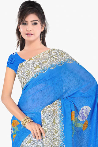 Designer Party wear Saree:atisundar marvelous Designer Sarees in Sky Blue  - 11415 - atisundar - 2