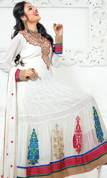 Jodha-Sonal:Classy Embroidered Anarkali White Semi stitched Salwar Kameez By atisundar - 4204 - atisundar - 3 - click to zoom